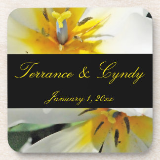 Inside White Lilies Personal Wedding Beverage Coaster