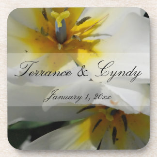 Inside White Lilies Personal Wedding Drink Coaster