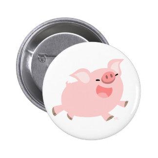 Insignia alegre del botón del cerdo del dibujo ani pin redondo de 2 pulgadas
