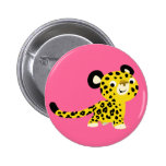 Insignia amistosa del botón del leopardo del dibuj