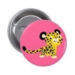 Insignia amistosa del botón del leopardo del dibuj pin redondo de 2 pulgadas