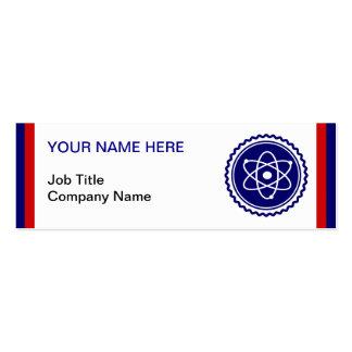 Insignia atómica azul de la ciencia esencial plantilla de tarjeta personal