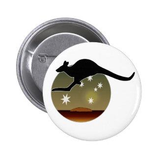 Insignia australiana del icono del canguro pin redondo de 2 pulgadas