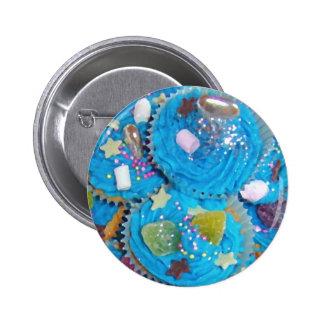 Insignia azul del botón de las magdalenas pin redondo de 2 pulgadas