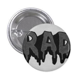 """Insignia blanco y negro del Grunge del """"Rad"""" Pin Redondo 2,5 Cm"""