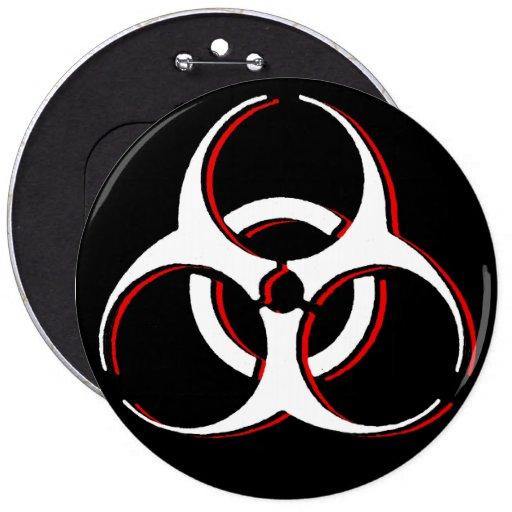 Insignia colosal del botón del Biohazard - ceniza  Pin