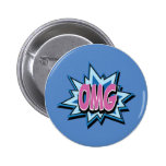 """Insignia cómica del botón del texto """"OMG"""""""