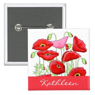 Insignia conocida de encargo del arte rosado rojo pin cuadrada 5 cm