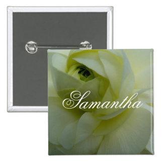 Insignia conocida de la flor blanca de Samantha Pin Cuadrado