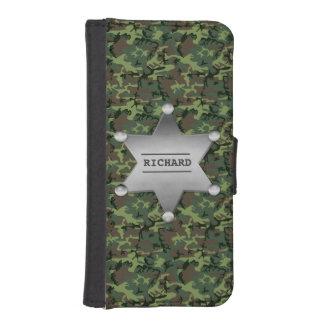 Insignia conocida del camuflaje del sheriff verde funda tipo billetera para iPhone 5