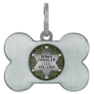 Insignia conocida del camuflaje del sheriff verde placas de nombre de mascota