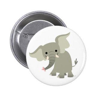 Insignia curiosa del botón del elefante del dibujo pin