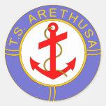 Insignia de Arethusa de los TS Etiquetas