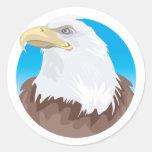 Insignia de Eagle calvo Pegatina Redonda