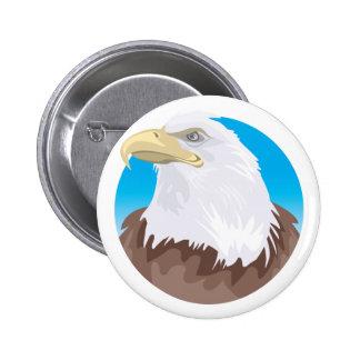 Insignia de Eagle calvo Pin Redondo De 2 Pulgadas