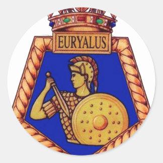 Insignia de HMS Euralyus, buque de guerra Etiqueta Redonda