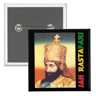 Insignia de Jah Rastafari Pin Cuadrada 5 Cm