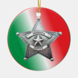Insignia de la estrella del ayudante del sheriff adorno navideño redondo de cerámica