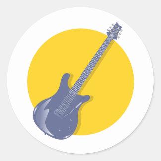 Insignia de la guitarra pegatina redonda