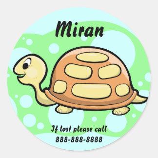 Insignia de la identificación de la tortuga de los etiquetas redondas