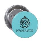 Insignia de Namaste Ganesh Pin Redondo De 2 Pulgadas