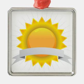 Insignia de oro del sello del premio adorno navideño cuadrado de metal