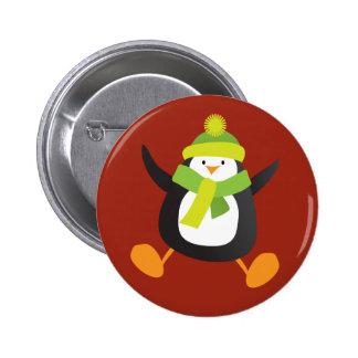 Insignia de salto linda del botón/Pin del pingüino Pin Redondo De 2 Pulgadas