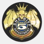 Insignia del área 5 del sheriff etiqueta redonda