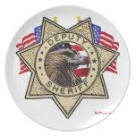 Insignia del ayudante del sheriff platos de comidas