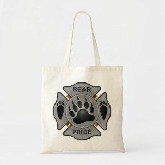 Insignia del bombero del orgullo del oso bolsa tela barata