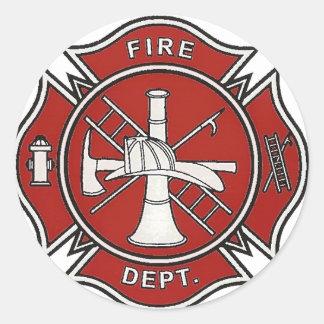 Insignia del bombero pegatina redonda