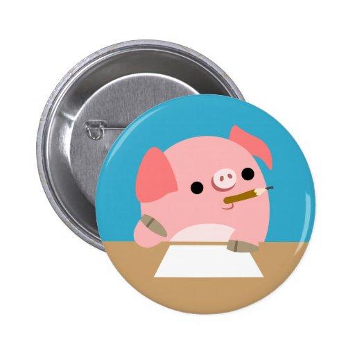"Insignia del botón bloque del dibujo animado del "" pins"
