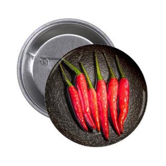 Insignia del botón de las pimientas de chiles rojo pin redondo de 2 pulgadas