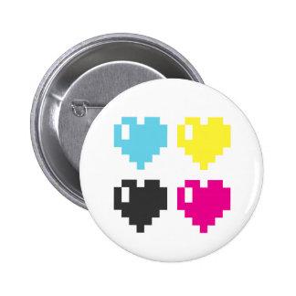 Insignia del botón de los corazones del pixel pin redondo de 2 pulgadas