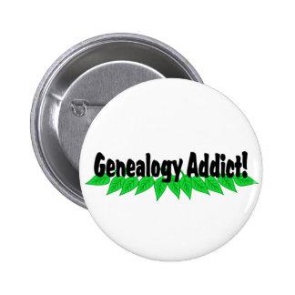 Insignia del botón del adicto a la genealogía pin redondo de 2 pulgadas
