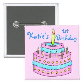 Insignia del botón del cumpleaños de la torta de c pin