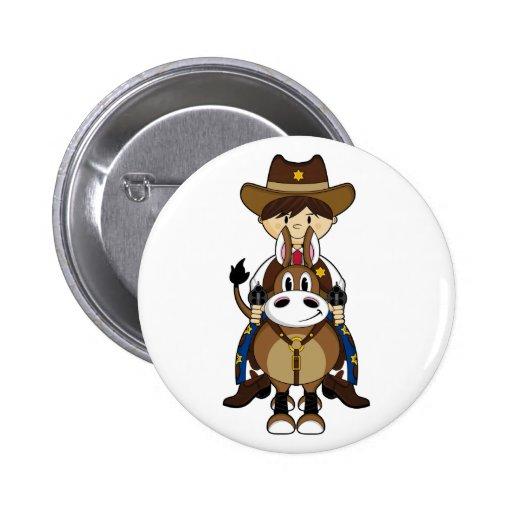 Insignia del caballo de montar a caballo del vaque pin redondo 5 cm