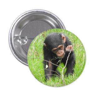 Insignia del chimpancé del bebé pin redondo de 1 pulgada