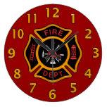 Insignia del cuerpo de bomberos reloj de pared