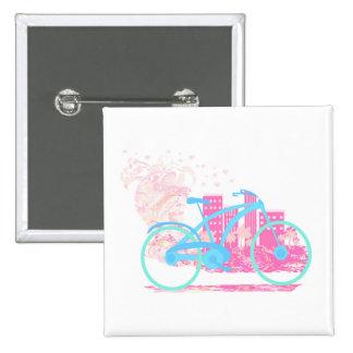 Insignia del diseño   de la bicicleta pin cuadrado