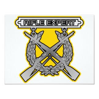 """Insignia del experto del rifle invitación 4.25"""" x 5.5"""""""