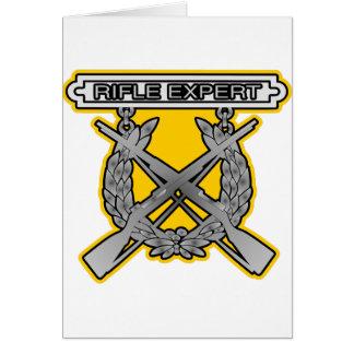 Insignia del experto del rifle tarjeta de felicitación