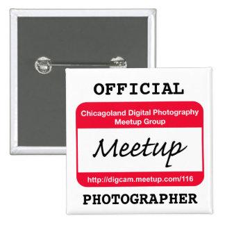 Insignia del fotógrafo del CDP - blanco Pin Cuadrada 5 Cm
