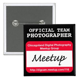 Insignia del fotógrafo del CDP - negro Pin Cuadrada 5 Cm