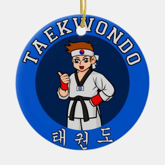 insignia del individuo del Taekwondo Adorno Navideño Redondo De Cerámica