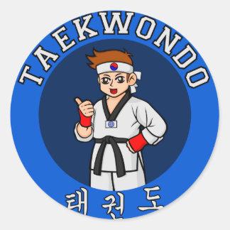 insignia del individuo del Taekwondo Pegatina Redonda