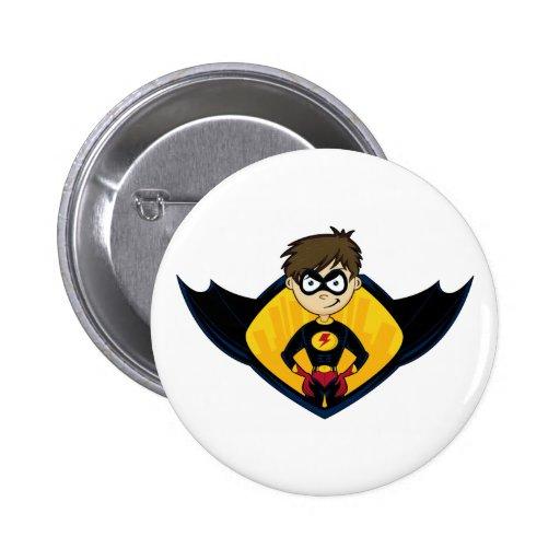 Insignia del muchacho del super héroe pin redondo 5 cm