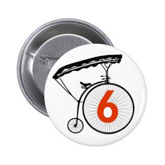 Insignia del número 6 - el preso pin redondo de 2 pulgadas