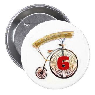 Insignia del número 6 pin redondo de 3 pulgadas