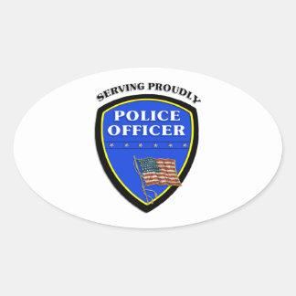 Insignia del oficial de policía pegatina ovalada